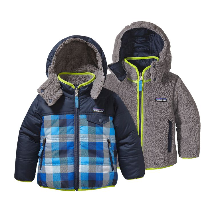 BABY REVERSIBLE TRIBBLES HOODY, Big Check Plaid: Electron Blue (BPEB)