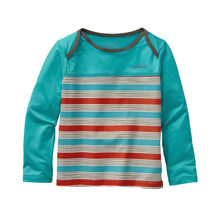 BABY LITTLE SOL RASHGUARD, Baby Waterfront Stripe: Cusco Orange (BWCO)