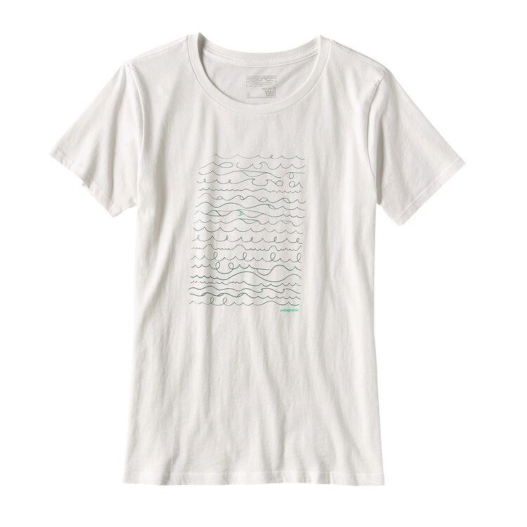 ウィメンズ・サーフ・ライター・コットン・クルー・Tシャツ, White (WHI)