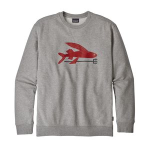 M's Flying Fish Midweight Crew Sweatshirt, Feather Grey w/Classic Red (FECR)