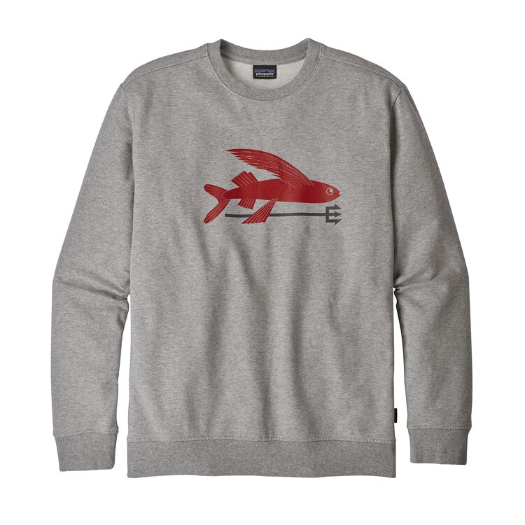 M'S FLYING FISH MW CREW SWEATSHIRT, Feather Grey w/Classic Red (FECR)