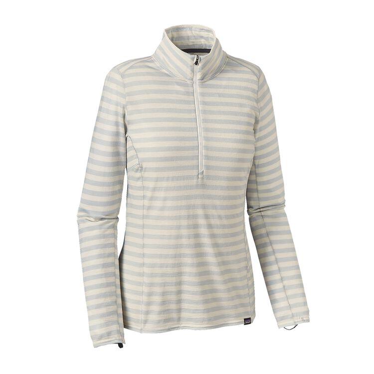 W'S MERINO MW ZIP NECK, Pearson Stripe: Birch White/Tailored Grey (PBTG)
