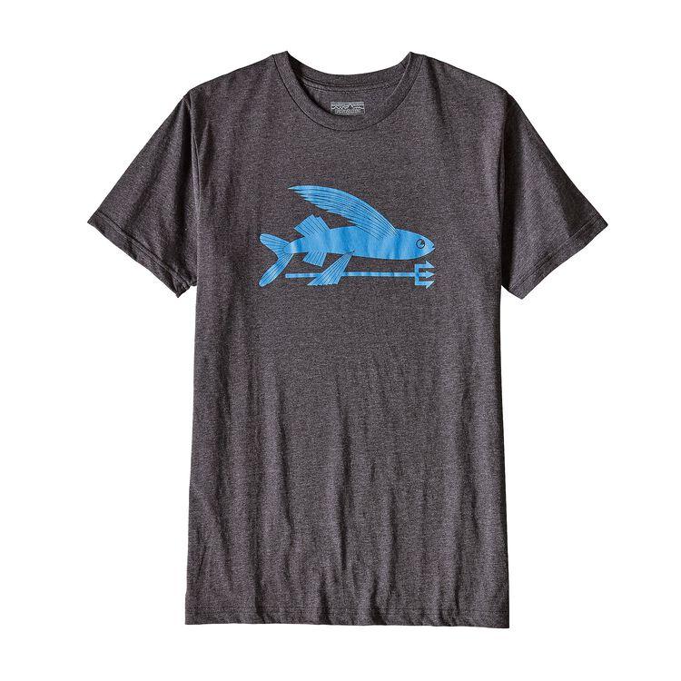 メンズ・フライング・フィッシュ・コットン/ポリ・Tシャツ, Black w/Radar Blue (BKRB)