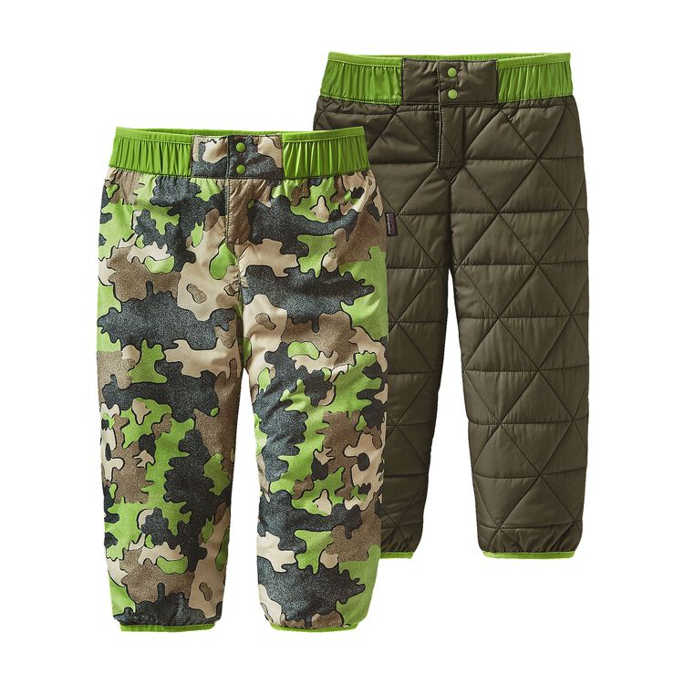 BABY REVERSIBLE PUFF-BALL PANTS, Sycamore Camo: Hydro Green (SCHG)