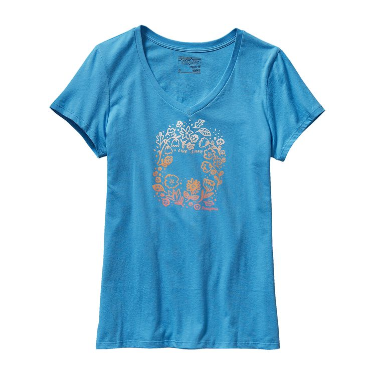 W'S LIVE SIMPLY HOMEGROWN COTTON V-NECK, Skipper Blue (SKPB)