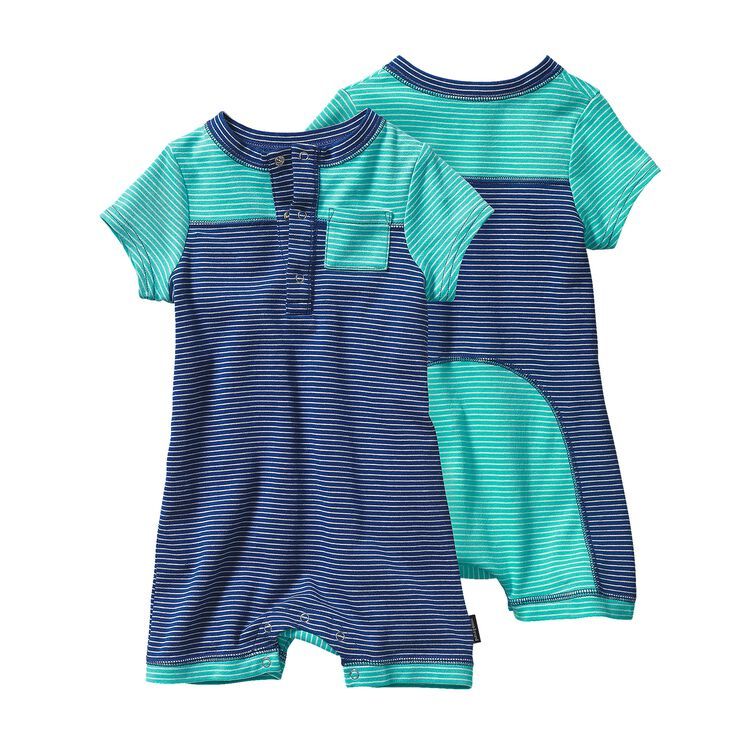BABY COZY COTTON SHORTIE, Itsy Bitsy Stripe: Channel Blue w/ Howling Turquoise (ICIH)