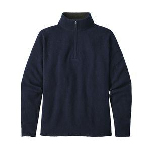 メンズ・リサイクル・カシミア・1/4ジップ・セーター, Navy Blue (NVYB)