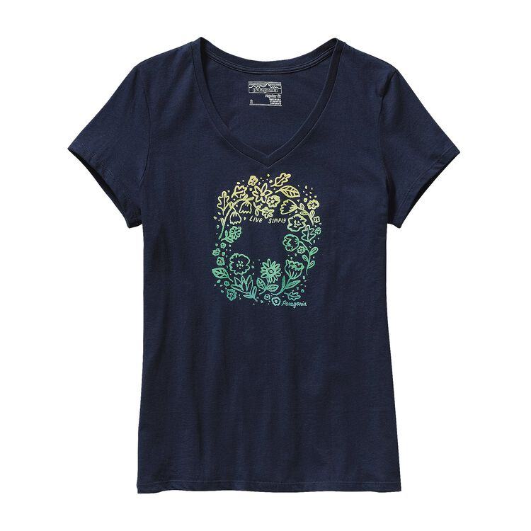 W'S LIVE SIMPLY HOMEGROWN COTTON V-NECK, Navy Blue (NVYB)