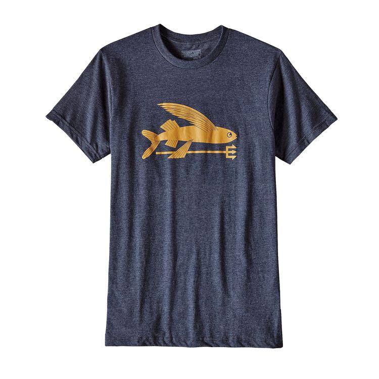 メンズ・フライング・フィッシュ・コットン/ポリ・Tシャツ, Navy Blue (NVYB)