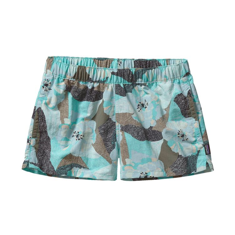 W'S BARELY BAGGIES SHORTS, Hibiscus Field Petite: Howling Turquoise (HFPT)