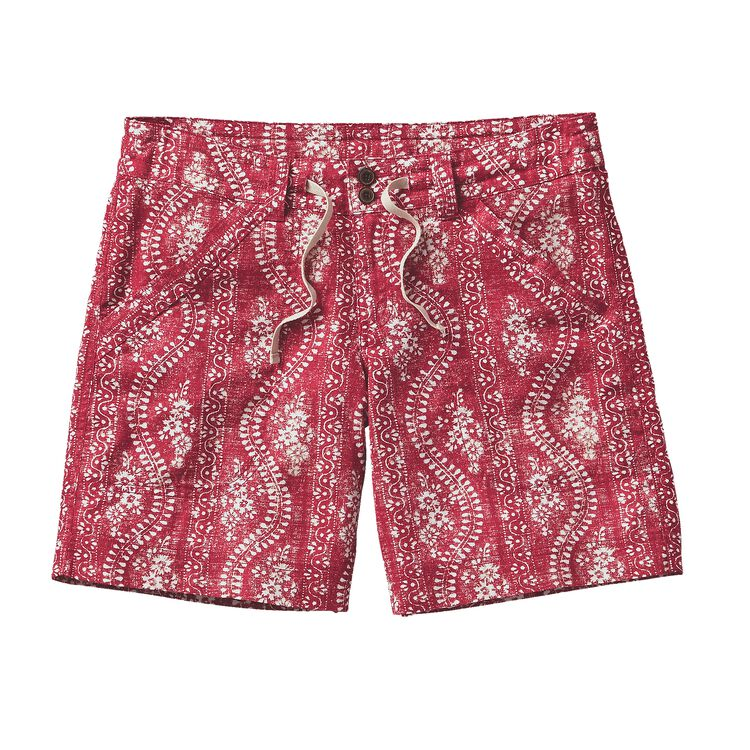 W'S ISLAND HEMP SHORTS, Folk Road: Classic Red (FRCR)