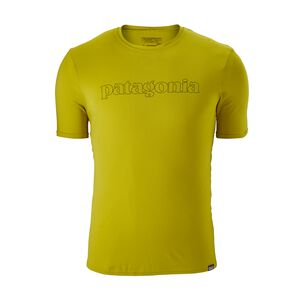 M's Capilene® Daily Graphic T-Shirt, Outline Text Logo: Fluid Green (OXFG)