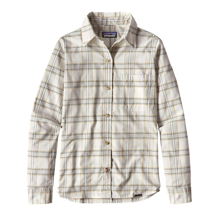 W'S L/S ISLAND HOPPER II SHIRT, Water Wheel: Birch White (WHBW)