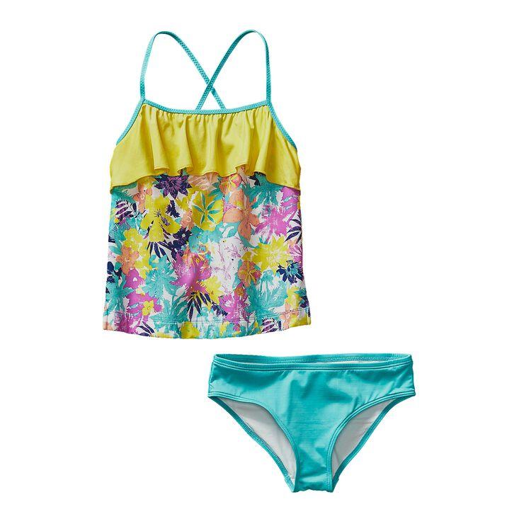 GIRLS' WAVY DAY TANKINI, Neo Tropics Lite: Howling Turquoise (NTTQ)