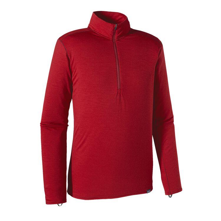 M'S MERINO MW ZIP NECK, Classic Red (CSRD)