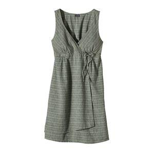 ウィメンズ・アイランド・ヘンプ・クロスオーバー・ドレス, Chambray Stripe: Basin Green (CYBG)