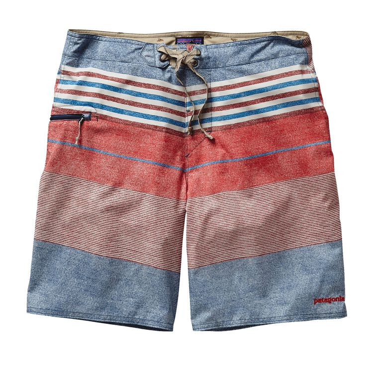 M'S PRINTED STRETCH PLANING BOARD SHORTS, Textured Fitz Stripe: Drumfire Red (TXDF)