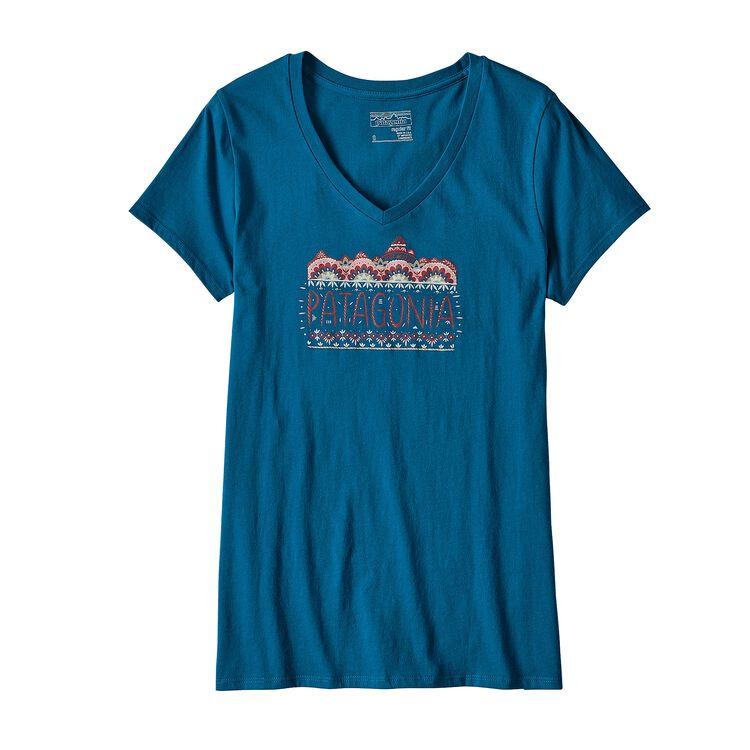 ウィメンズ・フェム・フィッツロイ・オーガニックコットン・Vネック・Tシャツ, Big Sur Blue (BSRB)
