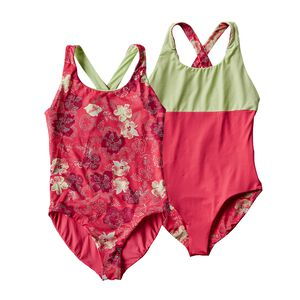 Girls' Reversible Water Luvin' One Piece, Dropdot: Cerise (DPTC)