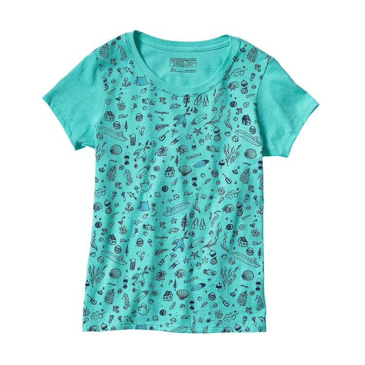 GIRLS' GRAPHIC COTTON/POLY T-SHIRT, Howling Turquoise (HWLT)