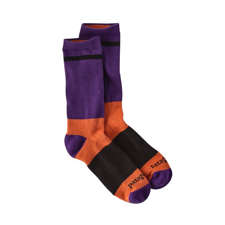M'S LW CREW SOCKS, Block Stripe: Purple (BPUR)