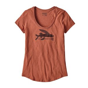 W's Flying Fish Organic Cotton/Poly Scoop T-Shirt, Canyon Brown (CYNB)