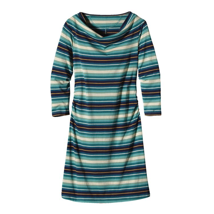 W'S KAMALA COWL NECK DRESS, Alba Stripe: Beryl Green (ALBG)