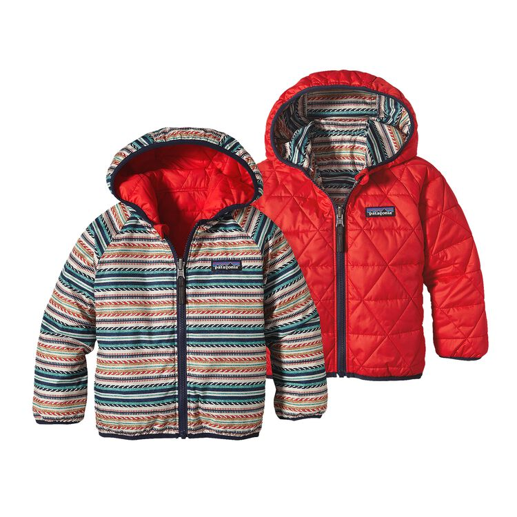 BABY REVERSIBLE PUFF-BALL JKT, Fin Stripe: French Red (FFNR)