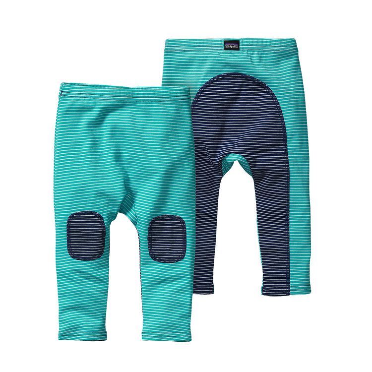 BABY COZY COTTON PANTS, Itsy Bitsy Stripe: Howling Turquoise (ISHT)