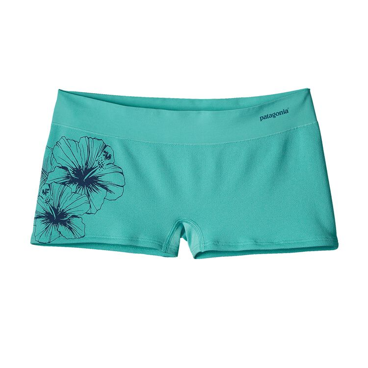 W'S ACTIVE MESH BOY SHORTS, Waterflower Graphic: Howling Turquoise (WFHT)