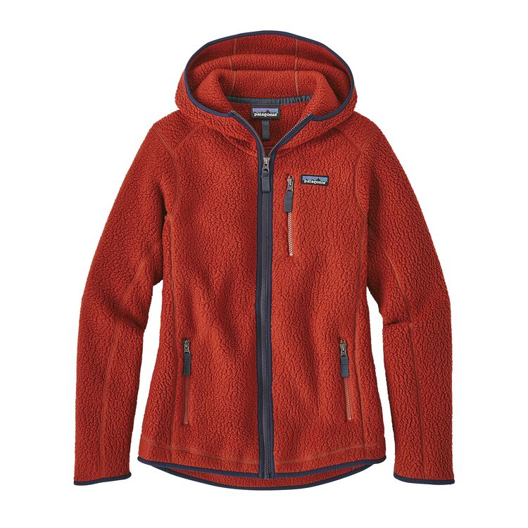 W'S RETRO PILE HOODY, Roots Red (RTSR)