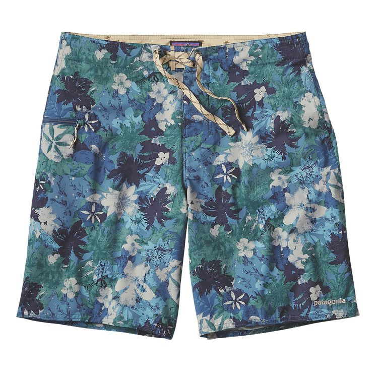 M'S PRINTED STRETCH PLANING BOARD SHORTS, Neo Tropics Lite: Glass Blue (NOTG)