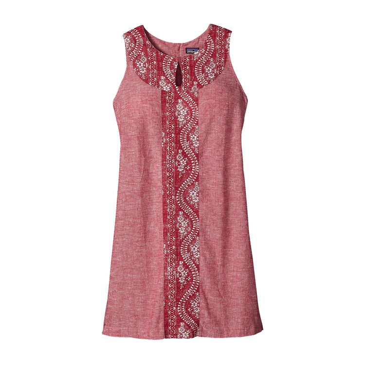 W'S ISLAND HEMP SHIFT DRESS, Chambray: Classic Red (CCLR)