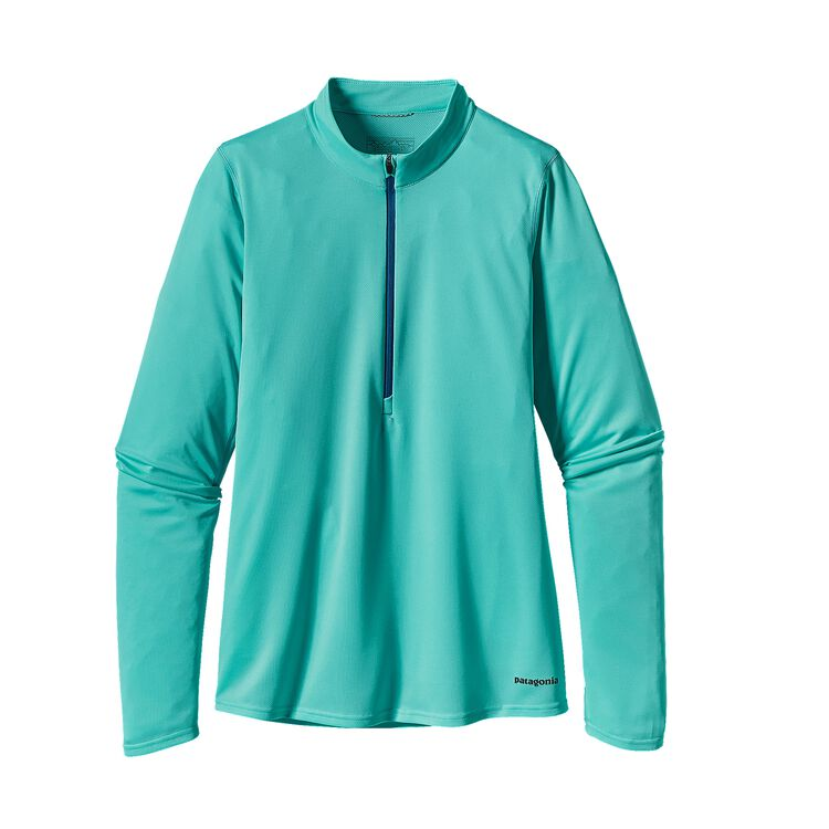 W'S L/S FORE RUNNER ZIP NECK, Howling Turquoise (HWLT)