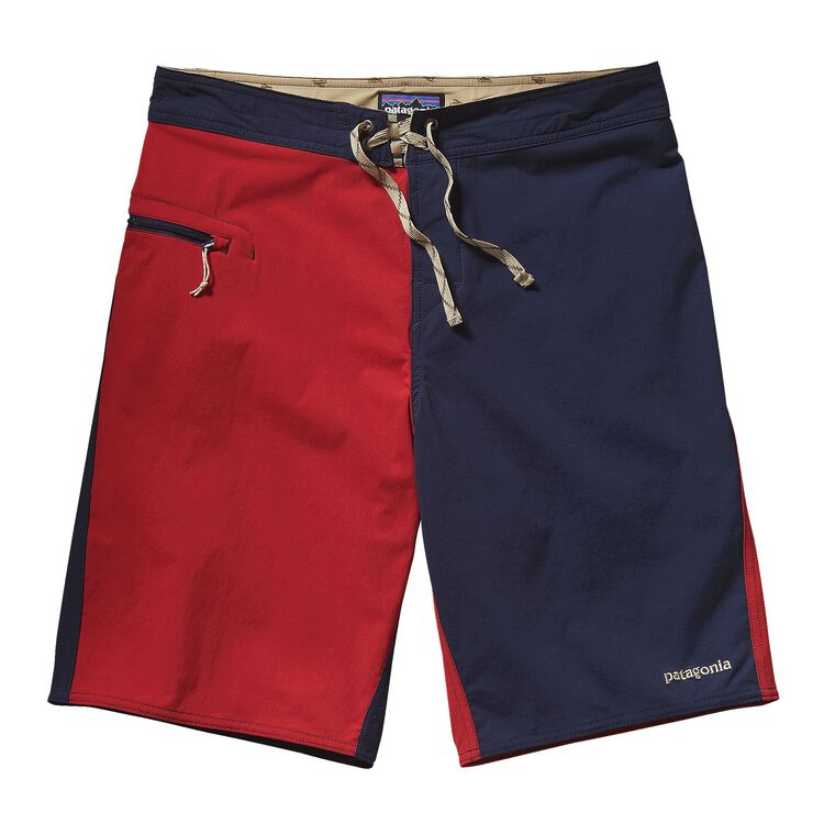 M'S STRETCH WAVEFARER BOARD SHORTS - 21, Harlequin: Navy Blue w/Classic Red (HNCR)
