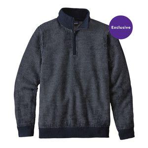 メンズ・メリノ・1/4ジップ・セーター, Navy Blue w/Feather Grey (NVFE)