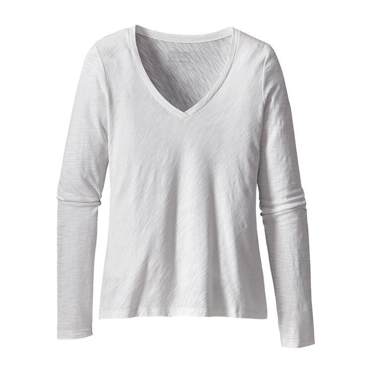 W'S L/S NECESSITY V-NECK, White (WHI)