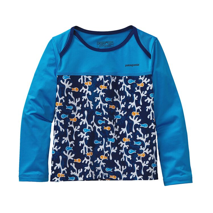 BABY LITTLE SOL RASHGUARD, Seaweed Fish: Channel Blue (SWCB)