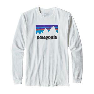メンズ・ロングスリーブ・ショップ・ステッカー・コットン・Tシャツ, White (WHI)