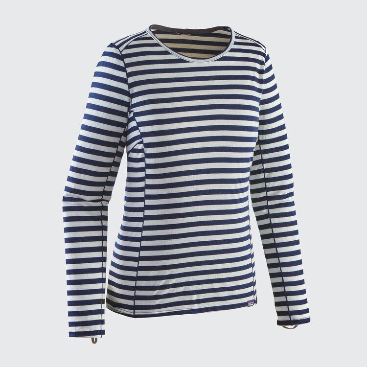 W'S MERINO MW CREW, Pearson Stripe: Birch White/Navy Blue (PBWN)