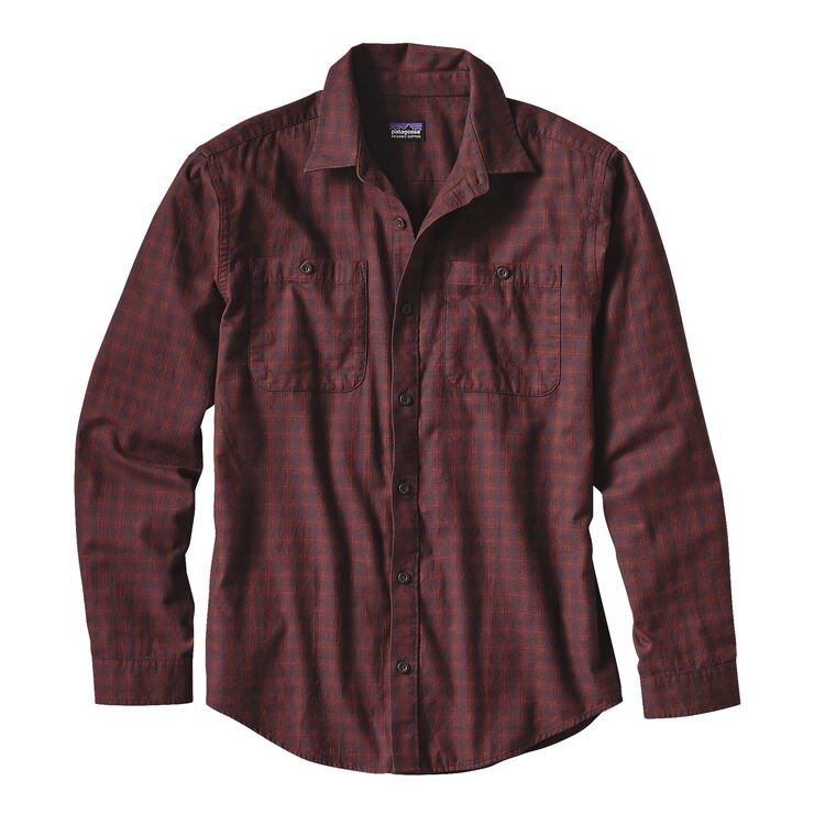 M'S L/S PIMA COTTON SHIRT, Blocked Out: Cinder Red (BOCR)