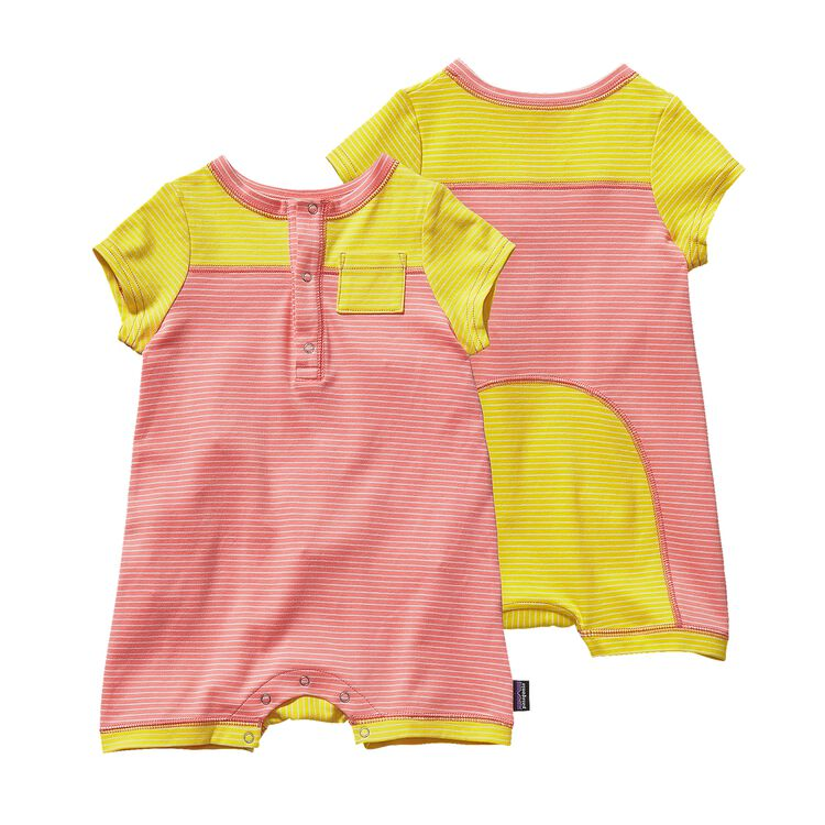 BABY COZY COTTON SHORTIE, Itsy Bitsy Stripe: Pickled Pink (ISPP)