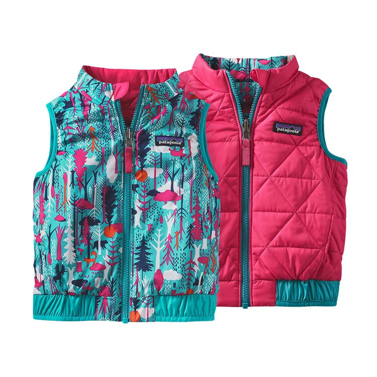 BABY REVERSIBLE PUFF-BALL VEST, Pine Friends: Epic Blue (PFEB)