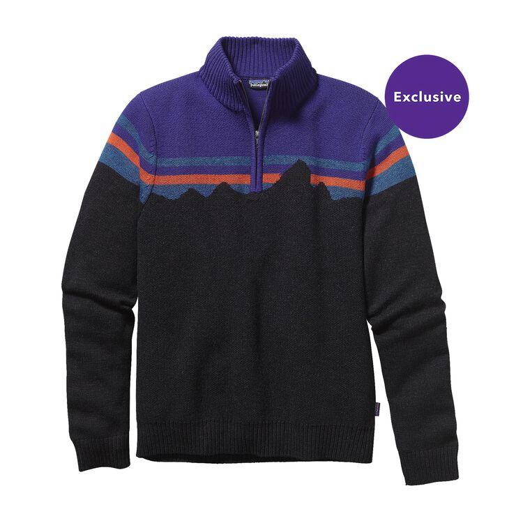 メンズ・メリノ・1/4ジップ・セーター, Black w/Concord Purple (BCNP)