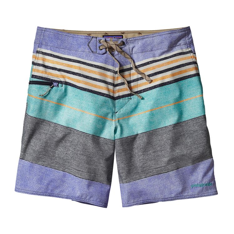 M'S PRINTED STRETCH PLANING BOARD SHORTS, Textured Fitz Stripe: Howling Turquoise (TXHQ)