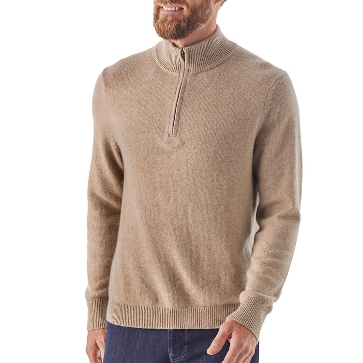 M's Recycled Cashmere 1/4-Zip Sweater,