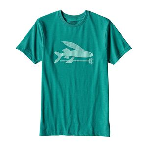メンズ・フライング・フィッシュ・オーガニックコットン/ポリ・Tシャツ, True Teal (TRUT)