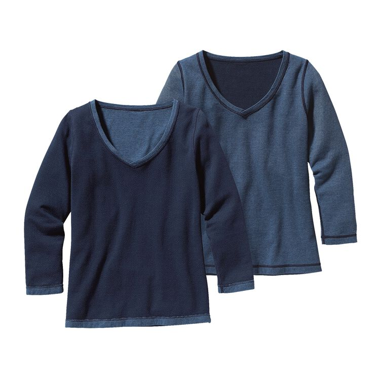 W'S REVERSIBLE DOUBLE KNIT V-NECK, High Peak: Navy Blue (HPNY)