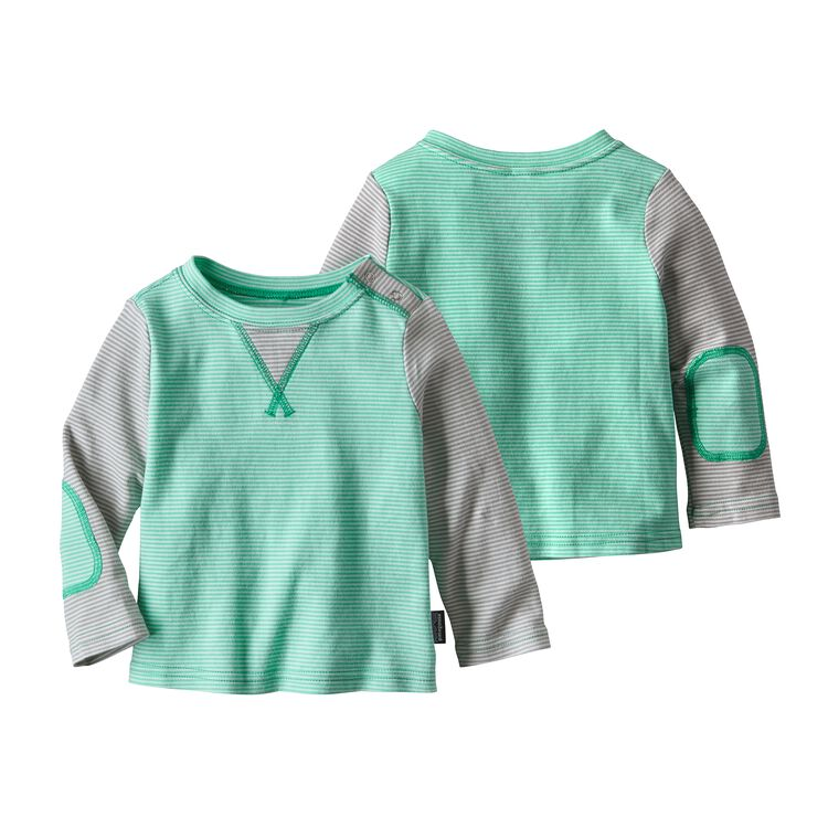BABY COZY COTTON CREW, Cove Stripe: Galah Green (CVGG)