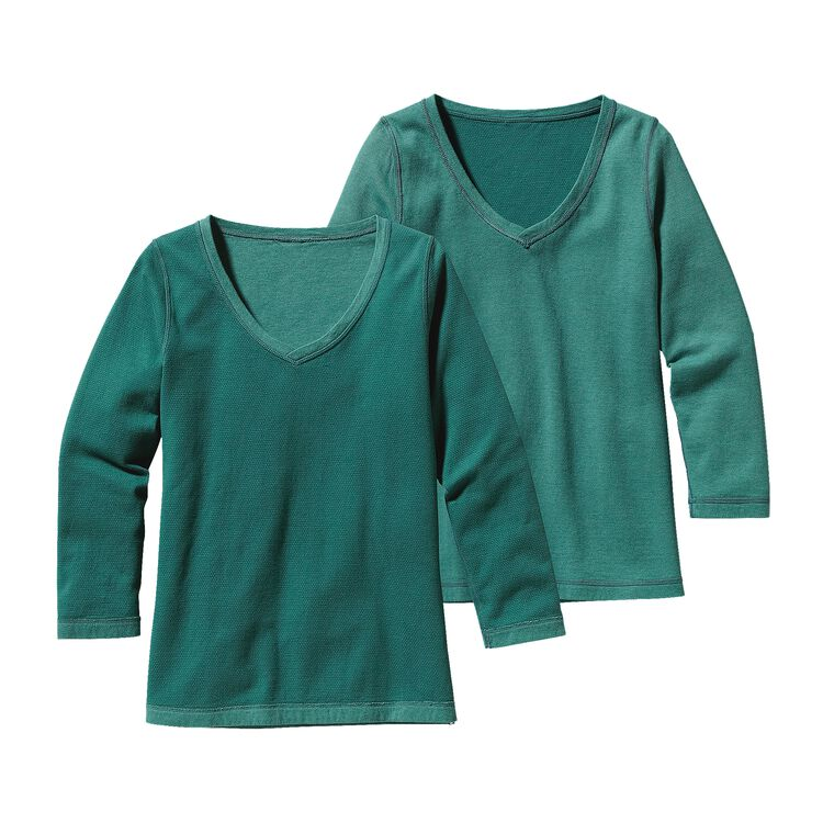 W'S REVERSIBLE DOUBLE KNIT V-NECK, High Peak: Arbor Green (HPKA)